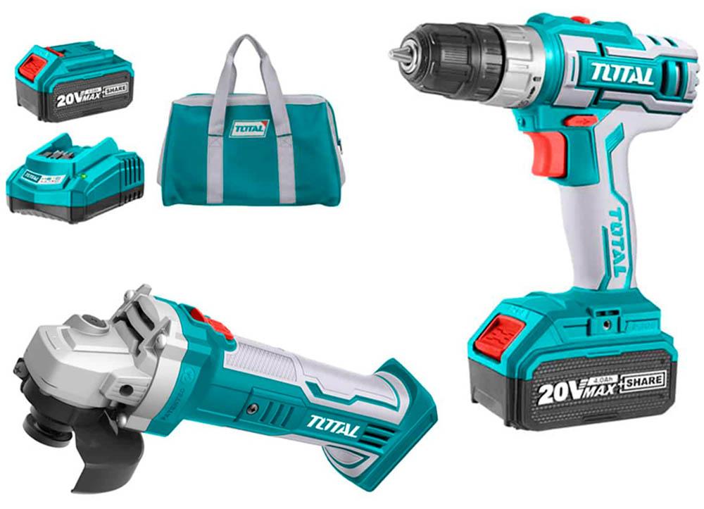 kit-amoladora-radial-taladro-atornillador-bateria-total-TCKLI2009