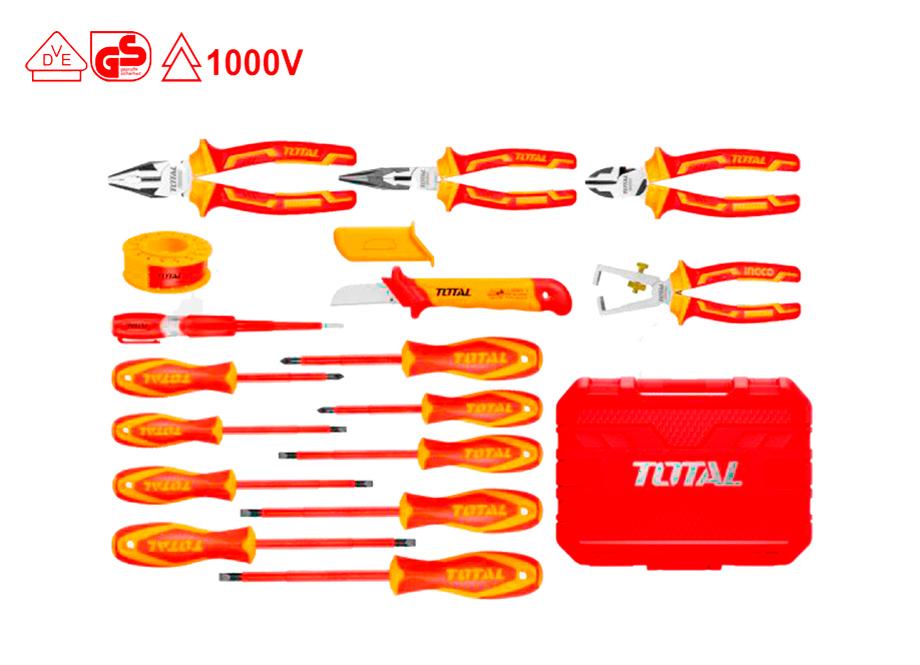 JUEGO 16 HERRAMIENTAS AISLANTES ELECTRICISTA 1000V - TOTAL