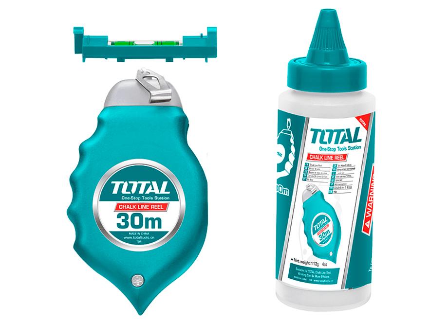 TIRALINEAS - PLOMADA 30M TOTAL (INCLUYE BOTE AZULETE Y MINI NIVEL)